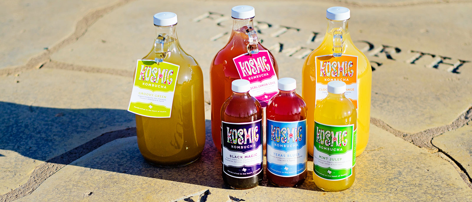 Big and Little Kosmic Kombucha Bottles